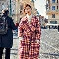 XL 2016 New Winter Thick Wool Coat Swallow Gird Woolen Coat Loose Red Turn Down Collar Women's Plus Size Woolen Outerwear YY261