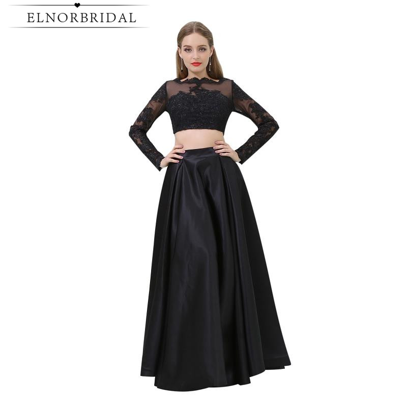 3a9ea784c1db4 US $89.0 |Modest Black Two Piece Prom Dresses Cheap 2019 Robe De Soiree  Long Sleeves Sheer Evening Gowns Sexy Party Gowns-in Prom Dresses from ...