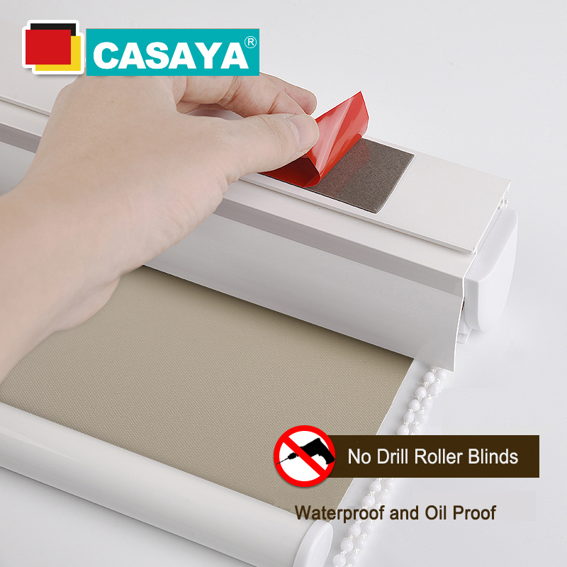 CASAYA Blackout Waterproof Roller Blinds Dust Cover Box Design No Drill Easy Clean Fabric Kitchen Curtains