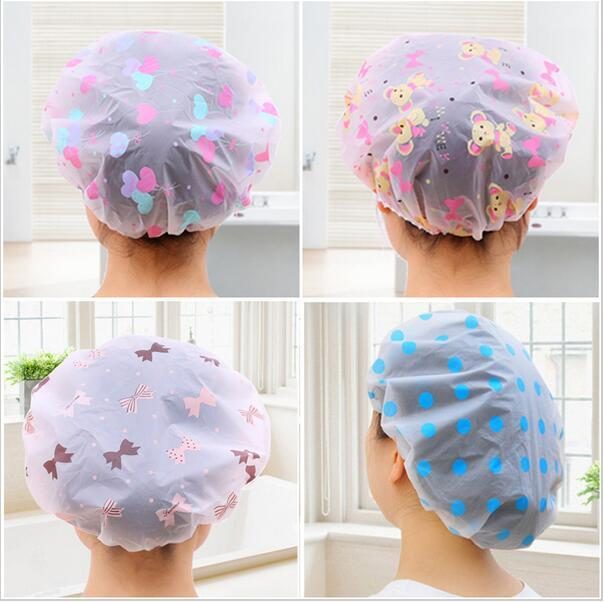 Shower bathing waterproof plastic fresh cartoon elastic hat elastic hat shower 70 in Bath Brushes Sponges Scrubbers from Home Garden
