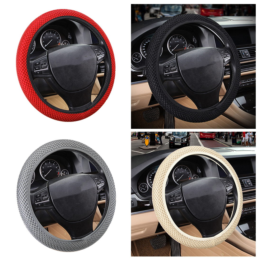 Dewtreetali Car Steering Wheel Cover Breathable Sandwich Fabric Universal Steering Wheel Protector Auto Decoration Car Styling