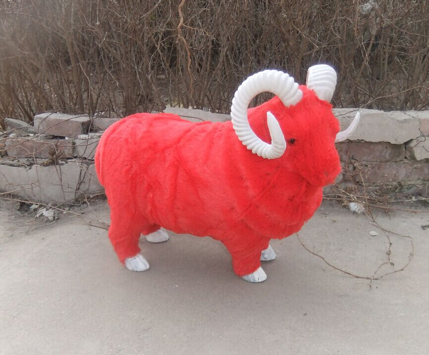 new creative simulation red sheep toy lifelike& fur beautiful sheep doll gift about 55x42cm
