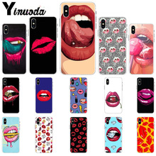 Yinuoda Sexy Girl red Lips Novelty Fundas Phone Case Cover for Apple iPhone 8 7 6 6S Plus X XS MAX 5 5S SE XR Mobile Cover yinuoda travel the world paper plane aircraft novelty fundas phone case cover for apple iphone 8 7 6 6s plus x xs max 5 5s se xr