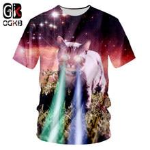 OGKB hombres O cuello Cool imprimir Galaxy Space Cat Flash 3d camiseta  masculina manga corta Fit delgado Casual T Shirts Homme b0c93f0bd0f