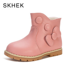 SKHEK Kids Winter Girl Boots Shoes Baby Winter Kids Shoes For Girl Boys Leather Non-Slip Warm Fashion Trend Of High Boots A551(China)