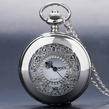 Antique Hollow Silver Tone Quartz Pocket Watch Necklace Pendant Women Men Gift P226