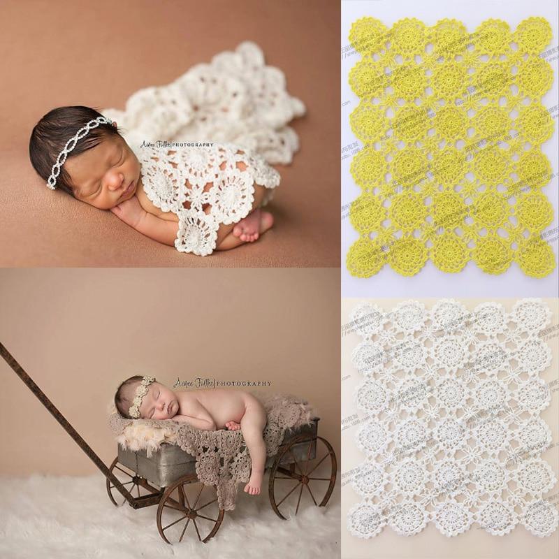 Handgjorda Crochet baby filt fotografering rekvisita filtar nyfödd fotografi prop, rosett wrap baby mönster stickat foto prop z