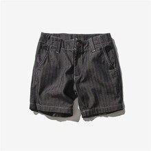 Shorts male straight denim pants vintage retro finishing water wash denim shorts