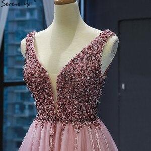 Image 5 - Dubai Design rouge haricot Sexy robes de soirée 2020 paillettes cristal sans manches étincelle robe formelle vraie Photo 66713