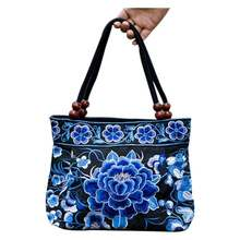 National Chinese style bags Embroidery Flowers Handbags Ethnic canvas Handmade Tote women's handbags Sac a Dos Femme