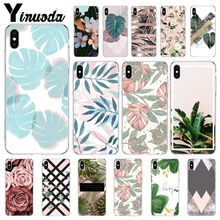 Yinuoda Candy Color Leaf Print Fashion Coque Shell Phone Case for iPhone X XS MAX  6 6s 7 7plus 8 8Plus 5 5S SE XR leaf print iphone case