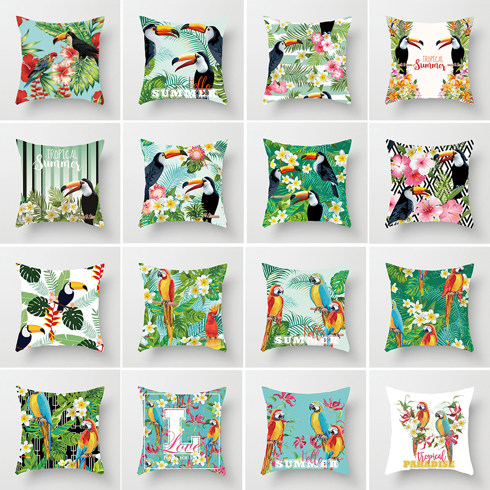 Lovely Toucan Leaves Square Throw Pillow Case Cushion Cover Home Sofa Cafe Decor 45cm x 45cm