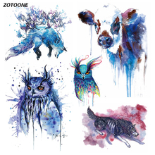 ZOTOONE Creative Ink Animal Set Iron on Transfer Patches for Clothing Beaded Applique T Shirt Clothes Decoration DIY Kids Gift G