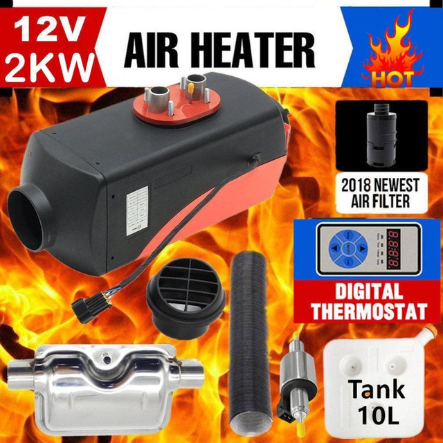 12V 2KW Parking Diesel Air Heater Single-hole Switch with Muffler Universal For Tank Vent Duct Thermostat Caravan