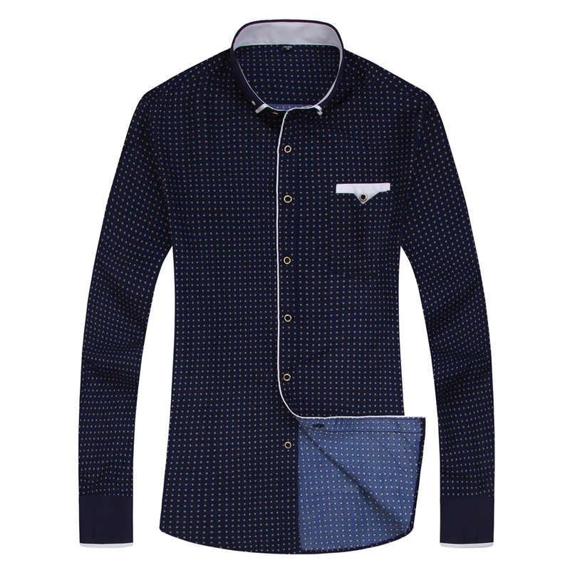 Fashion Print Casual Mannen Lange Mouw Stiksels Fashion Pocket Ontwerp Stof Zachte Comfortabele Mannen Jurk Slim Fit Stijl 8XL