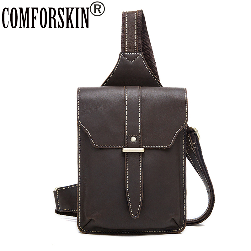 COMFORSKIN Genuine Leather Messenger Bag European And American Vintage Sytle Men's Bag 2018 New Arrivals Hot Brand Male Bolsas цена
