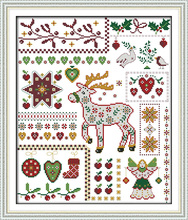 Santa elk with dolls Counted Cross Stitch 11CT 14CT Cotton Sets Handmade Kits Embroidery Needlework