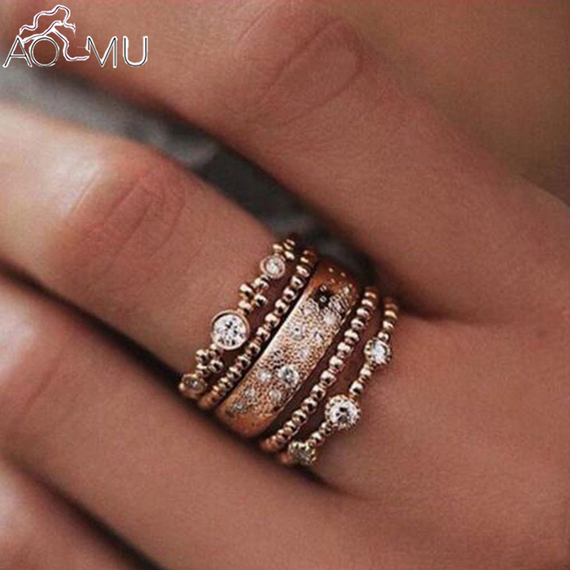 8333b88f4d US $1.34 14% OFF|Aomu 5pcs Beach Crystal Ring Set for Women Finger Ring  Golden Plain Band Mid Finger Knuckle Joint Rings Foot Toe Rings-in Rings  from ...