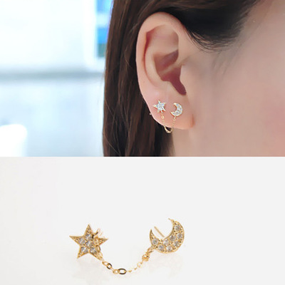 1pcs full rhinestone star and moon earring Two Ear Holes Connection Stud Earrings Double Ear Hole Chain Piece earring  jewelry|Stud Earrings|   - AliExpress