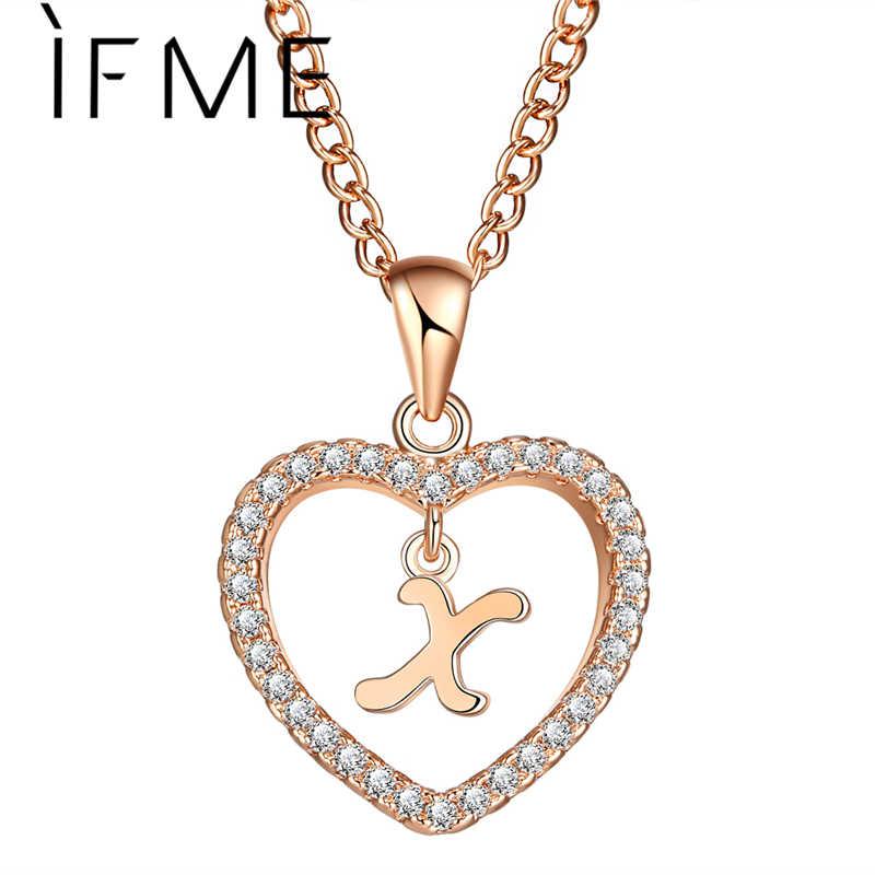 Jeśli ME X list kobiety naszyjnik Charms kryształ w kształcie serca kreatywne naszyjniki i wisiorki 2018 kapitał początkowy złoty kolor srebrny biżuteria