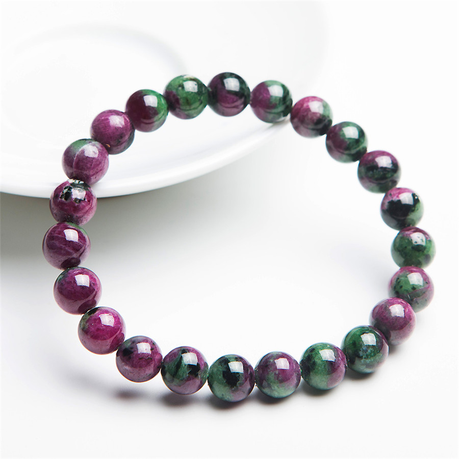 8mm Genuine Green Red Zoisite Natural Stone Bracelets Women Femme Loose Round Beads Stretch Charm Bracelet 4 6mm natural garnet wrap bracelet silver red wine charms bracelet round beads bracelets for women