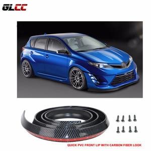 Car modification decoration strip Fit Front Bumper Lip Splitter Quick Lip Chin EZ Install PVC CF Look suit most cars