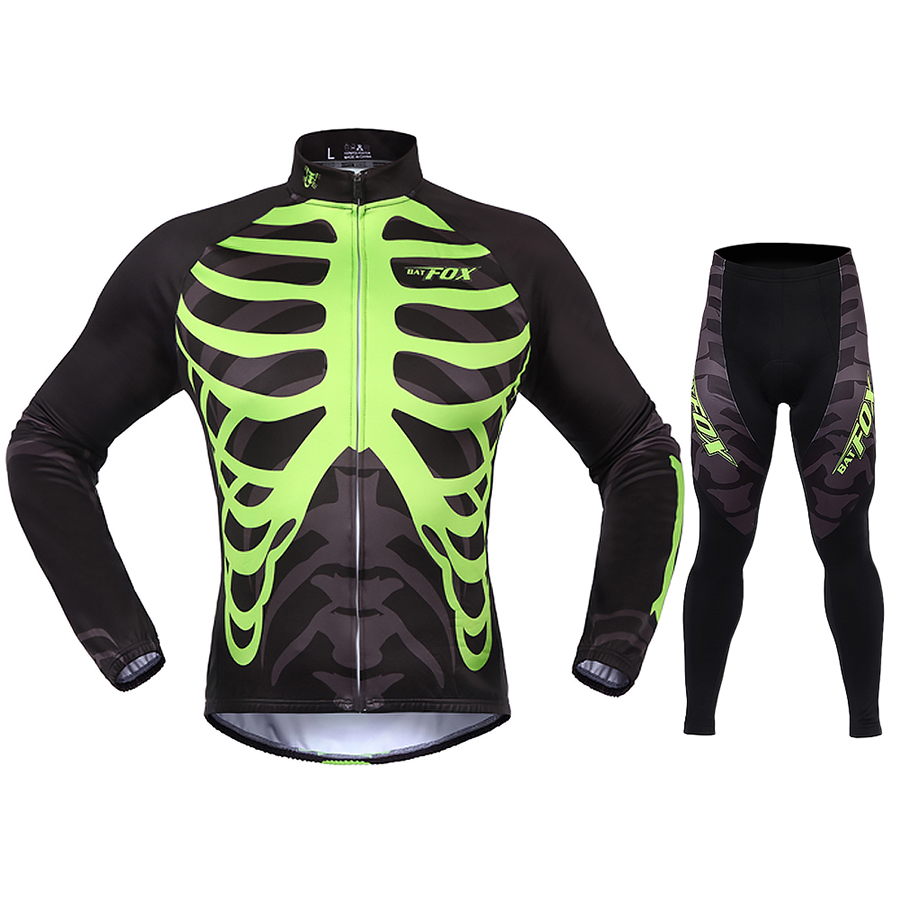 Фотография BATFOX Autumn Winter Long Sleeve Cycling Jersey Sets Women Men Skull Cycling Clothing Thermal Fleece Black Green S-3XL Kits Suit