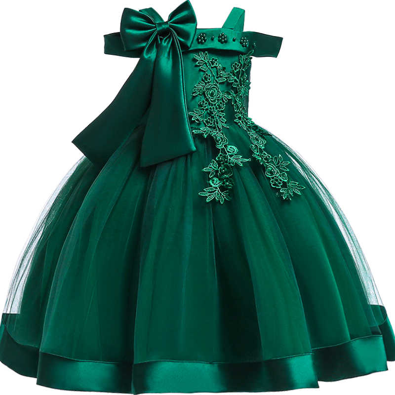 Baby Girls 3D Flower Embroidery Silk Princess Dress for Wedding Party Bow Tutu Kids Dresses for Girls clothes Children Clothing