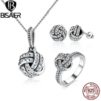 VOROCO Authentic 100 925 Sterling Silver Sparkling Love Knot Weave Jewelry Sets Sterling Silver Jewelry Accessories