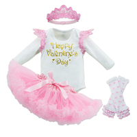 Valentine's Day Vestido Infantil Baby Girl 4 Piece Suit Wings Bodysuits+Pettiskirts+Socks+Crown Newborn Clothes Festival Gifts