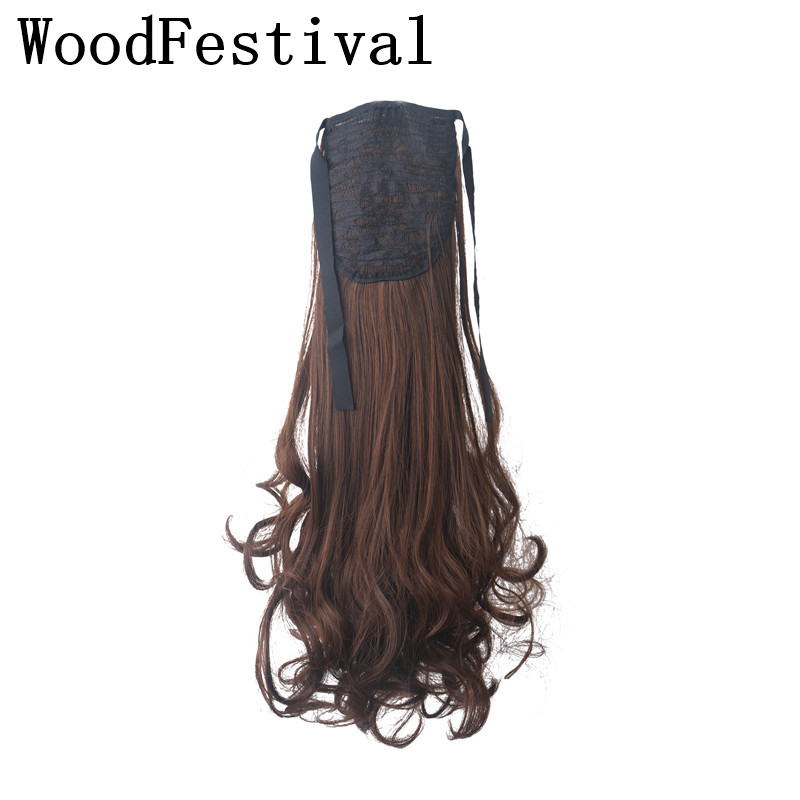 WoodFestival Heat Resistant 55cm Long Curly Synthetic Ponytail Extensions Black Brown Clip In Ponytail Hair Extension(China)