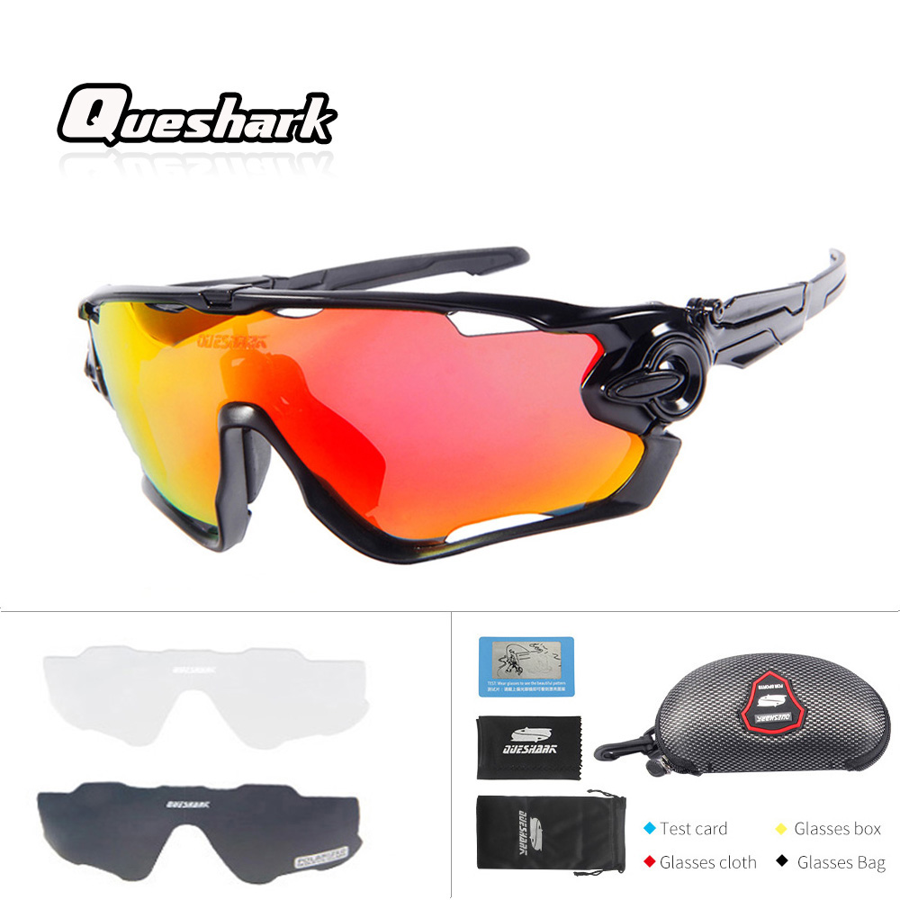 Queshark Professional 2018 New Arrival 3 Lens/Set Polarized Fishing Glasses Bike Goggles Racing Eyewear Outdoor Sport Sunglasses okulary wojskowe