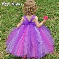 カラフルな赤ちゃんチュチュドレス女の子誕生日ドレスフラワーブローチガール新生児チュチュハロウィンの写真撮影の小道具衣装パーティードレ