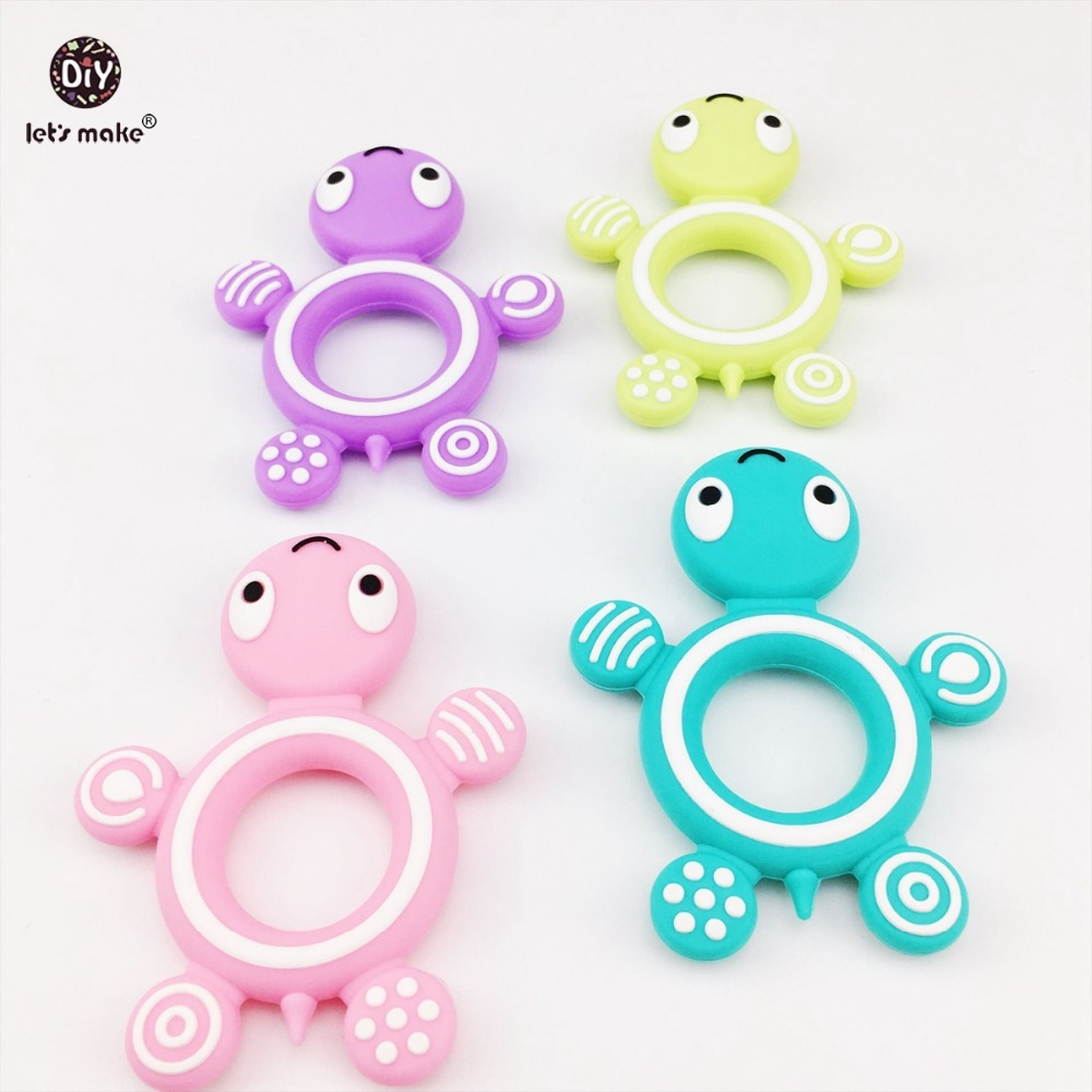 Lets Make Silicone Tortoise 5pcs Baby Teether Lovely Diy Teething Necklace Accessories Baby Shower Food Grade Silicone Teether