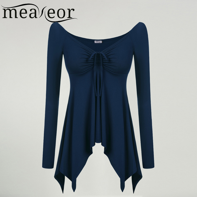 Meaneor Brand Ladies Fashion Sexy Tops Off Shoulder Long Sleeve Shirt Tops with Front Lace up Irregular Hem Casual Top T-Shirt