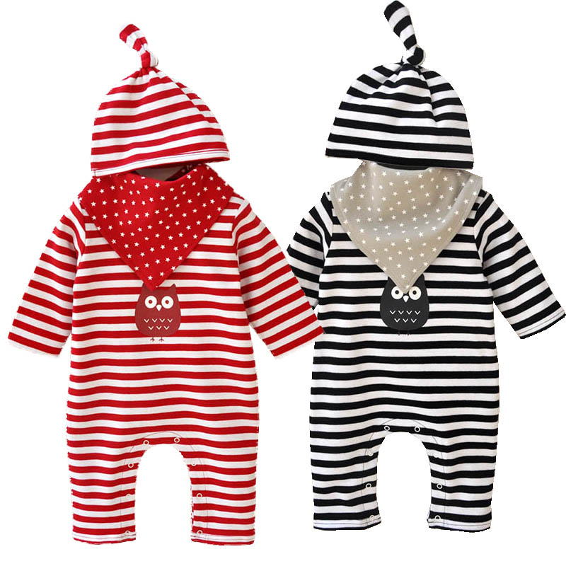 Baby Clothing Set Baby Girl Clothes 3 Pcs Suit Striped Romper+Bib+Hat New Born Clothes Set Cartoon Owl Print Children Clothes baby college waistcoat romper 2016 new born gentlemen 2 pcs romper hat clothing set infant wedding party formal suit