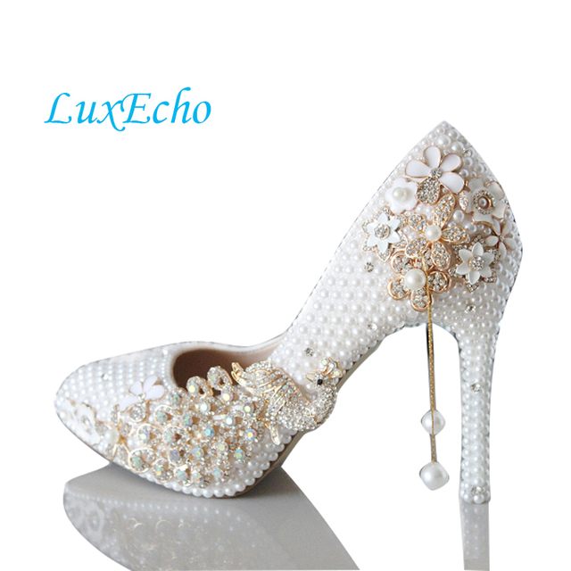 The Luxury Pointed Toe Pearl Wedding Shoes Gold Peacock High Heel Pumps Spring And Autunm Bridal