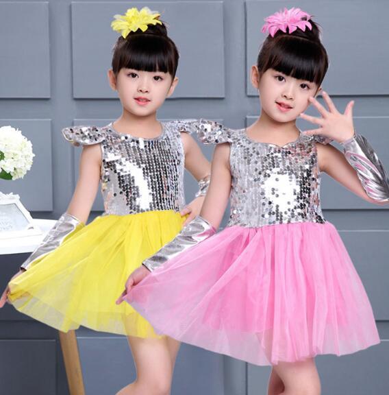 9a9c7e1e3eb1 New Children Jazz Dance Dress Girls Fashion Sequins Princess Modern ...
