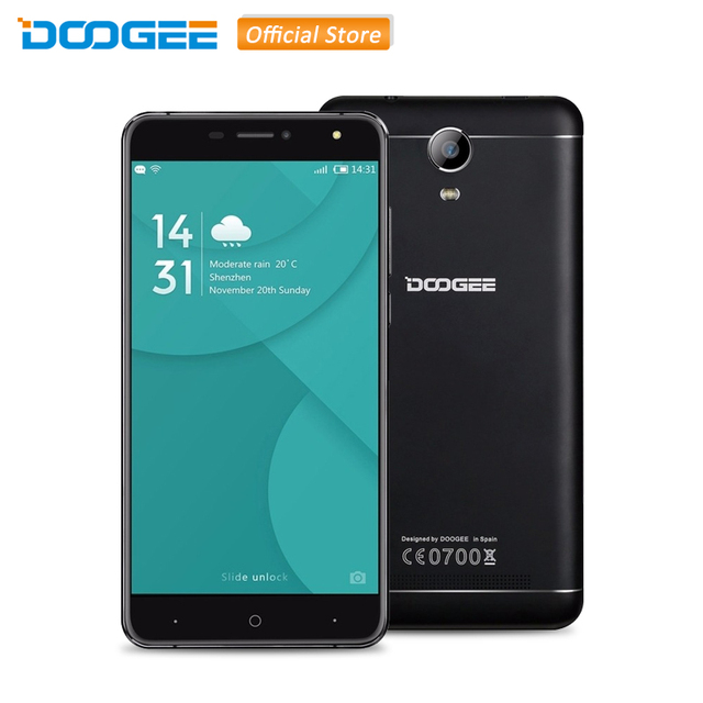 Original DOOGEE X7 Pro 6.0'' HD Screen RAM 2GB ROM 16GB Smartphone MTK6737 Quad Core Android 6.0 with OTG 4G LTE WCDMA Phones