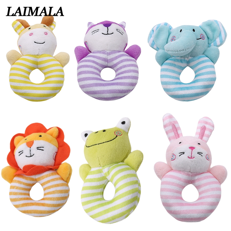 Infant Baby Toy Kids Gift Animal Cartoon Hand Bell Ring Rattles Kid Plush Toy S