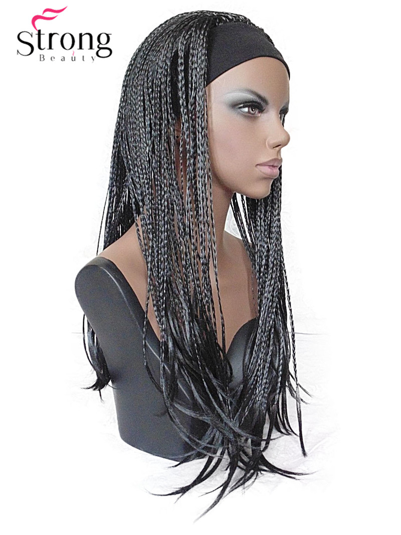 StrongBeauty 24INCH Long Black Braided 3/4 HEADBAND Wig Full Synthetic Hair