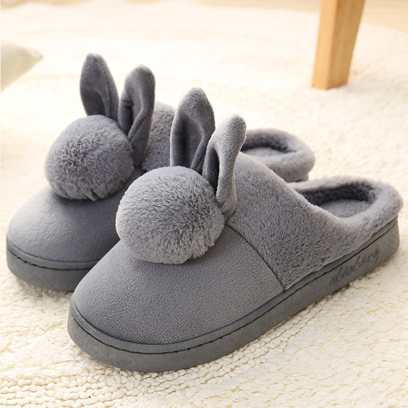 Cute home slippers indoor female shoes winter 2017 new style plush totem rabbit velvet slippers warm shoes women size 36-40 designer fluffy fur women winter slippers female plush home slides indoor casual shoes chaussure femme