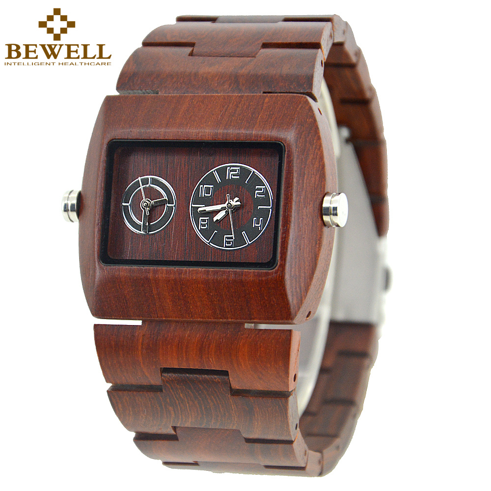 BEWELL Newest Full Red Sandalwood Wood Watch for Men Casual Designer Quartz Watches Two-tone Wooden Clock Drop Shipping 021C chinese traditional professional performance full red sandalwood hulusi three tone detachable flute dizi key of c b with case