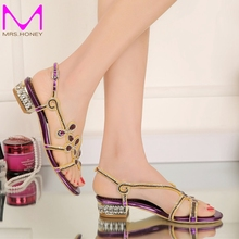 Low Heel Rhinestone Sandals 2016 Ladies Summer Shoes Crystal Flower Wedding Party Shoes Purple Gold Black Color Large Size 9 10