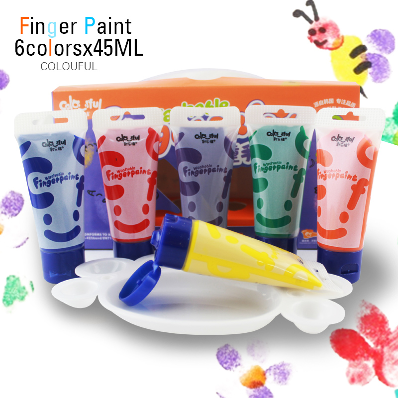 лучшая цена 6 colors 45ml Colourful Brand non-toxic washable paint finger painting for kids children water colors set