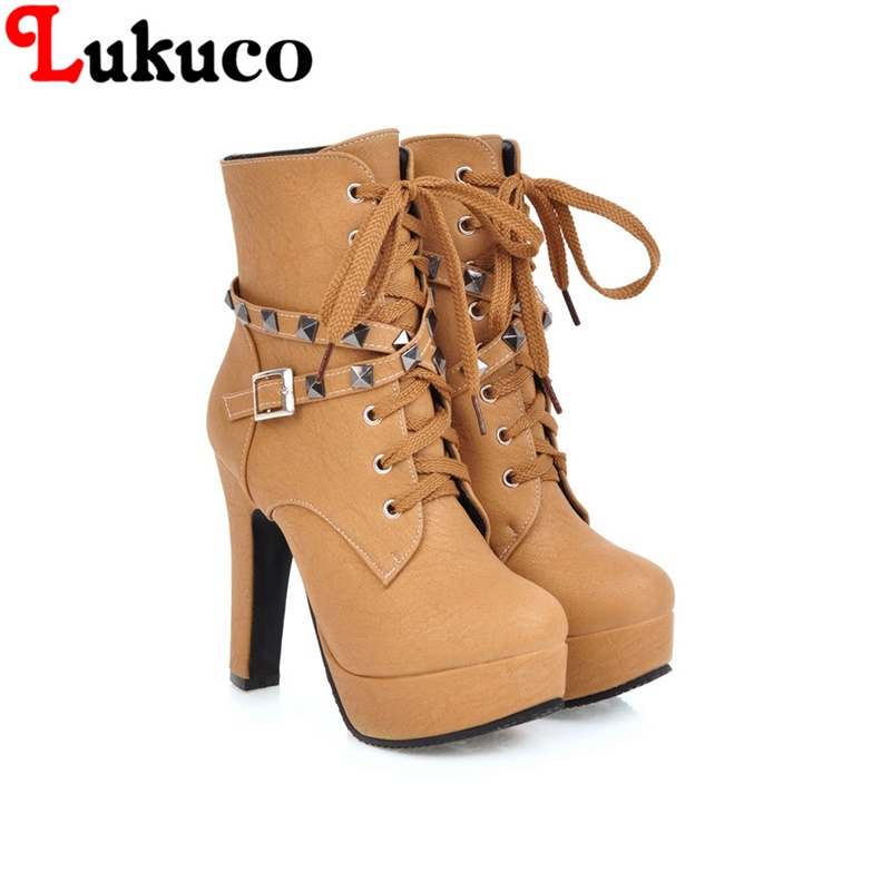 2018 SEXY large size 38 39 40 41 42 43 44 45 46 47 48 49 Lukuco women boots lace-up design high quality lady shoes free shipping