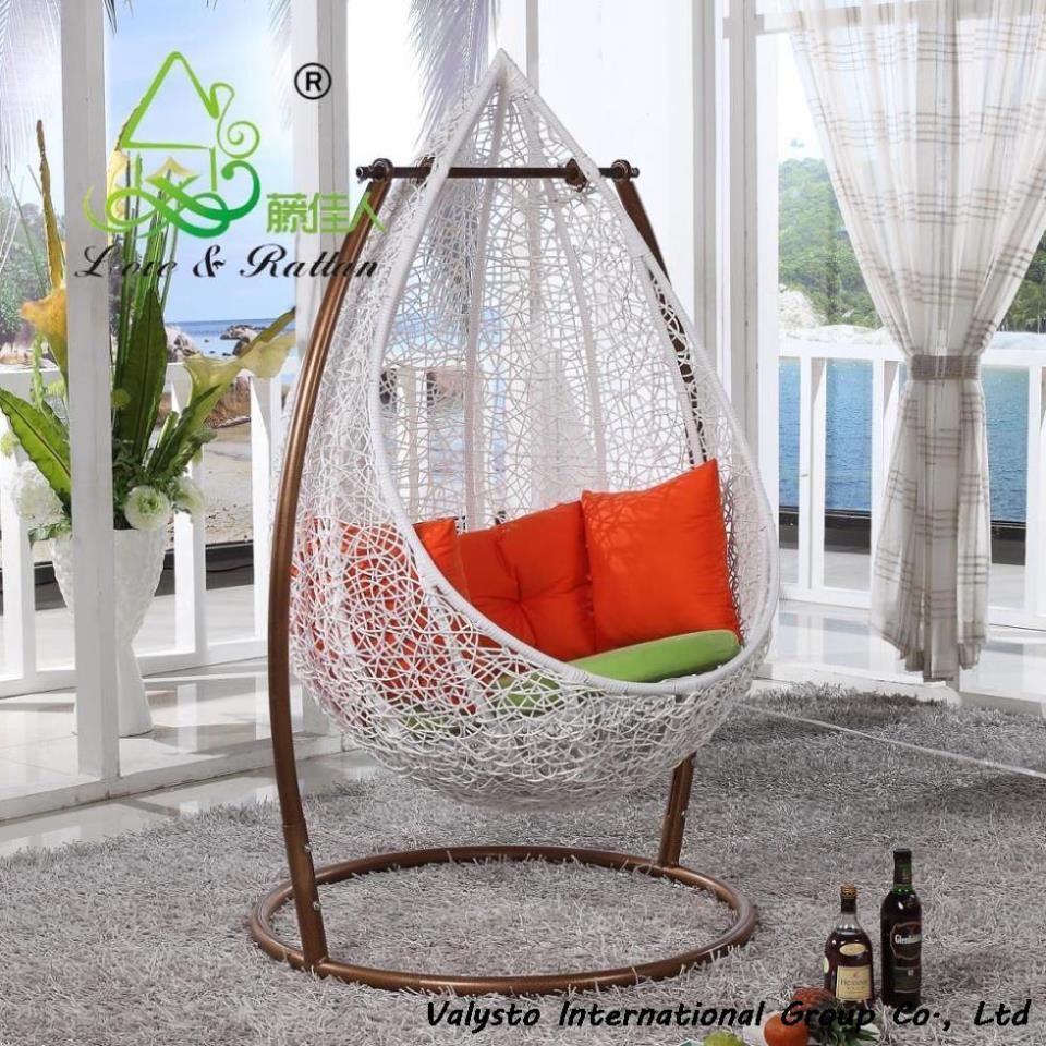 Rattan hanging basket swing indoor hanging chair rattan chair swing cradle wrought iron in patio