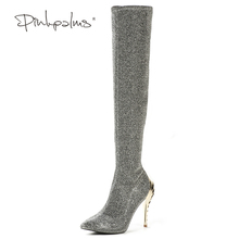 Pink Palms Women Boots Shoes Winter Knee High Boots Sexy Stretch Over The Knee High Boots Silver Slim Fit Thigh High Heels Boots