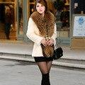 Мех пальто длинная приталенный енот мех воротник зима куртка женщины имитация кроличий мех пальто