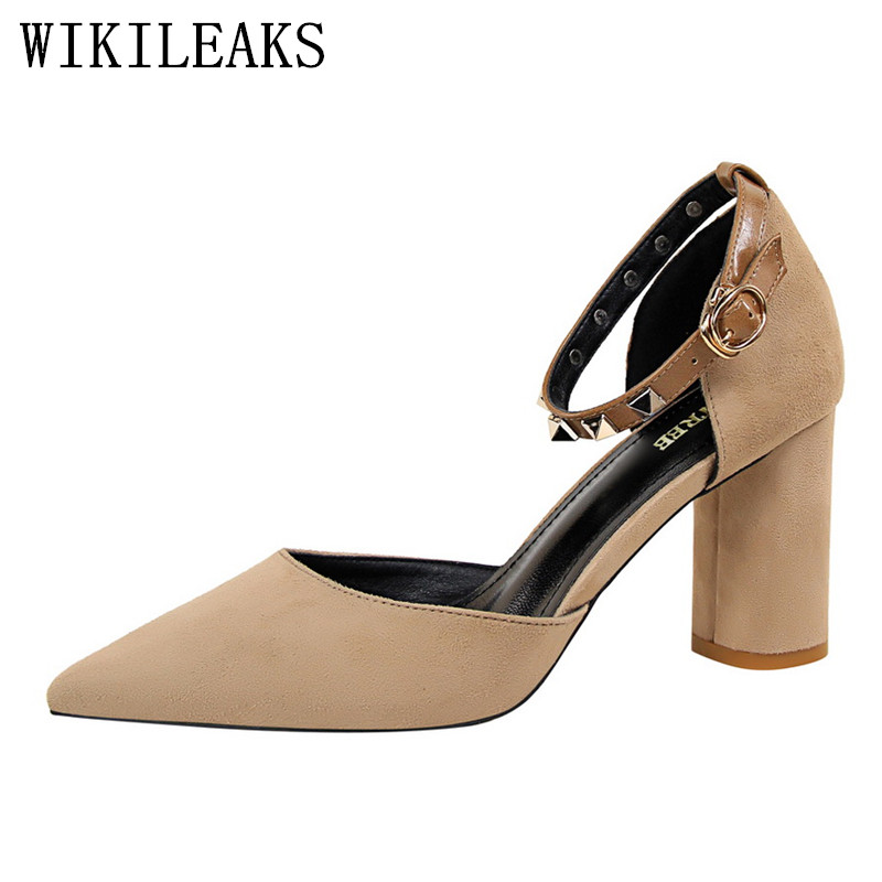 mary jane shoes woman fashion flock high heels women party wedding luxury brand rivets valentine shoes pointed toe sexy pumps